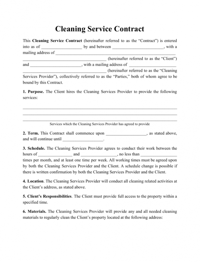 Printable Cleaning Service Contract Template Download Printable Pdf Janitorial Services Contract Template Example