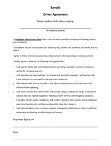 printable driver contract of employment sample  fill online truck driver contract agreement template sample