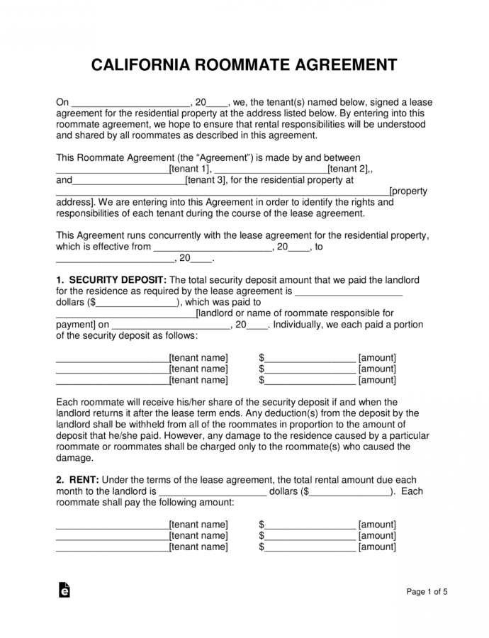 Printable Free California Roommate Room Rental Agreement  Pdf Rent A Room Contract Template Word