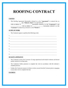printable free roofing contract template samples roofing contract agreement template sample
