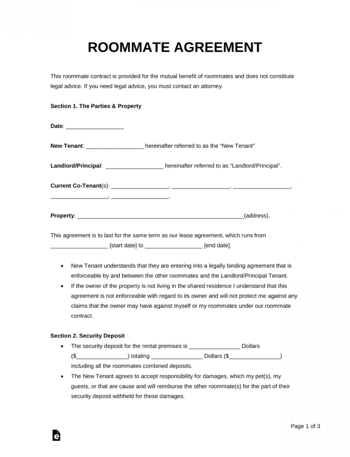 Printable Free Roommate Room Rental Agreement Template  Pdf  Word Rent A Room Contract Template PDF