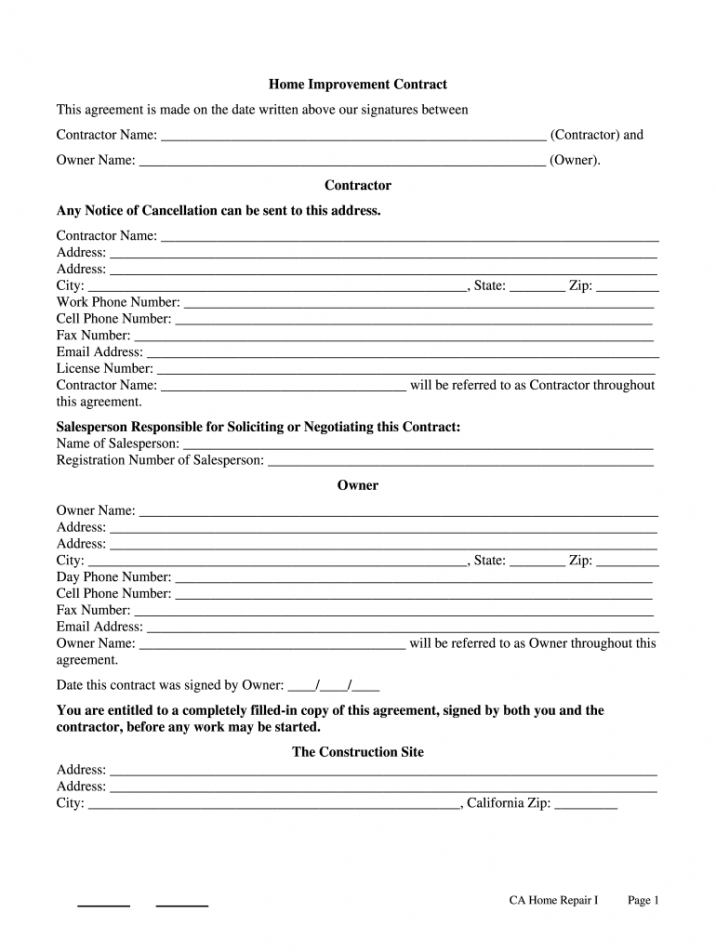 printable home improvement contract california pdf  fill online home repair contract template pdf