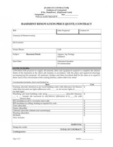 printable home remodeling contract template ~ addictionary home renovation contract template word
