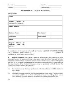 printable ontario renovation contract home renovation contract template word