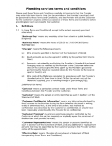 printable plumbing services terms and conditions  docular plumbing service contract template excel