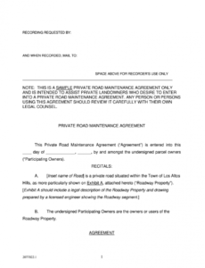 printable private road maintenance agreement  fill out and sign printable pdf  template  signnow property maintenance contract template