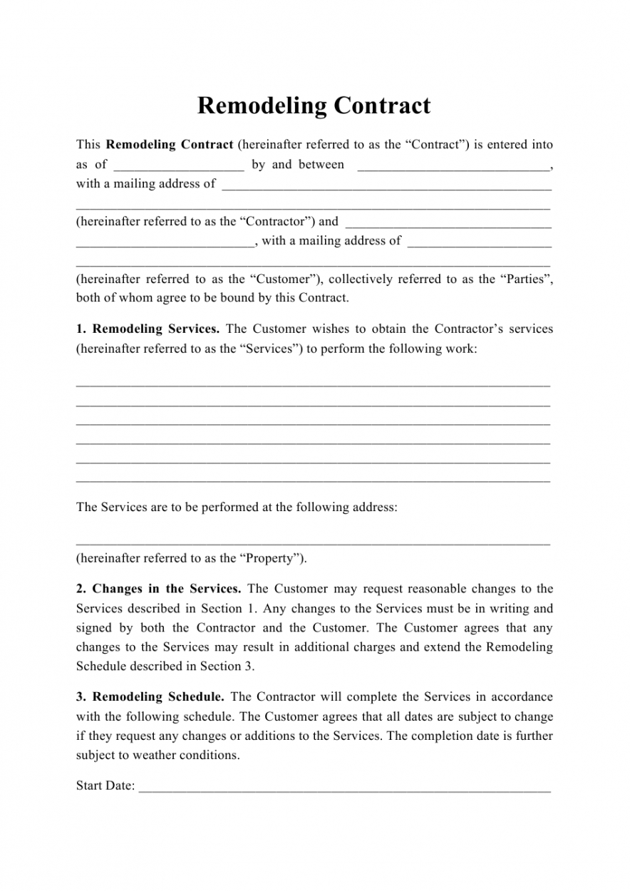 printable remodeling contract template download printable pdf home renovation contract template word