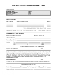 reimbursement form medical expenses template  by business medical billing contract template word