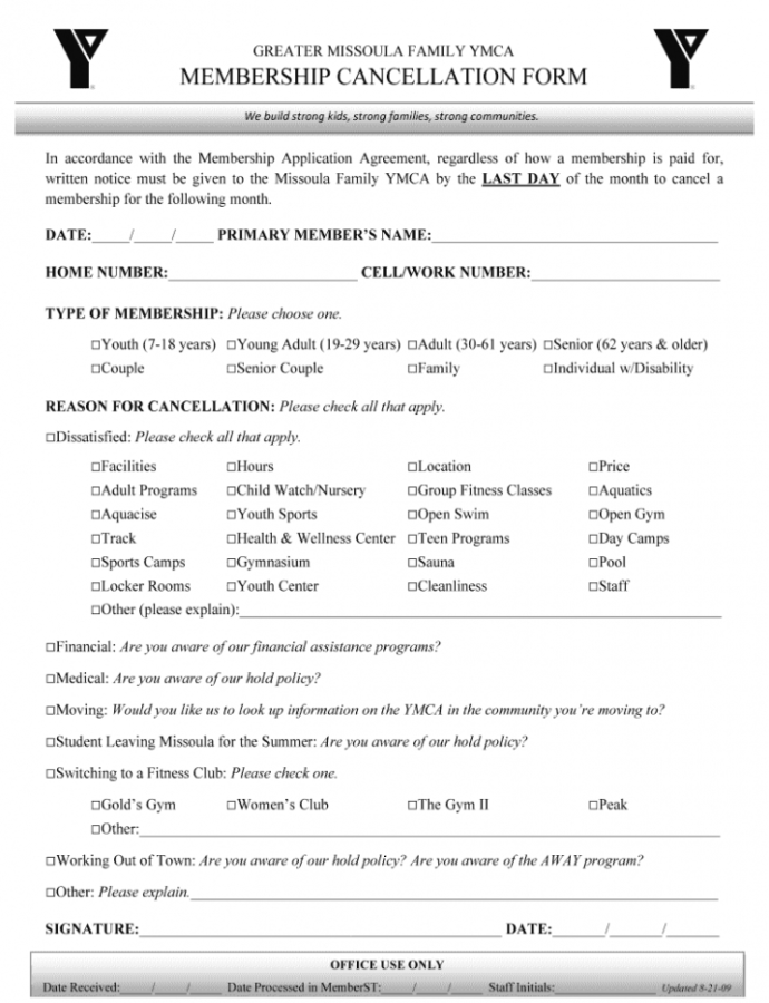 Sample Gym Cancellation Form  Fill Out And Sign Printable Pdf Template  Signnow Gym Membership Contract Template Sample