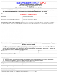sample home repair contract template  free printable documents home repair contract template excel