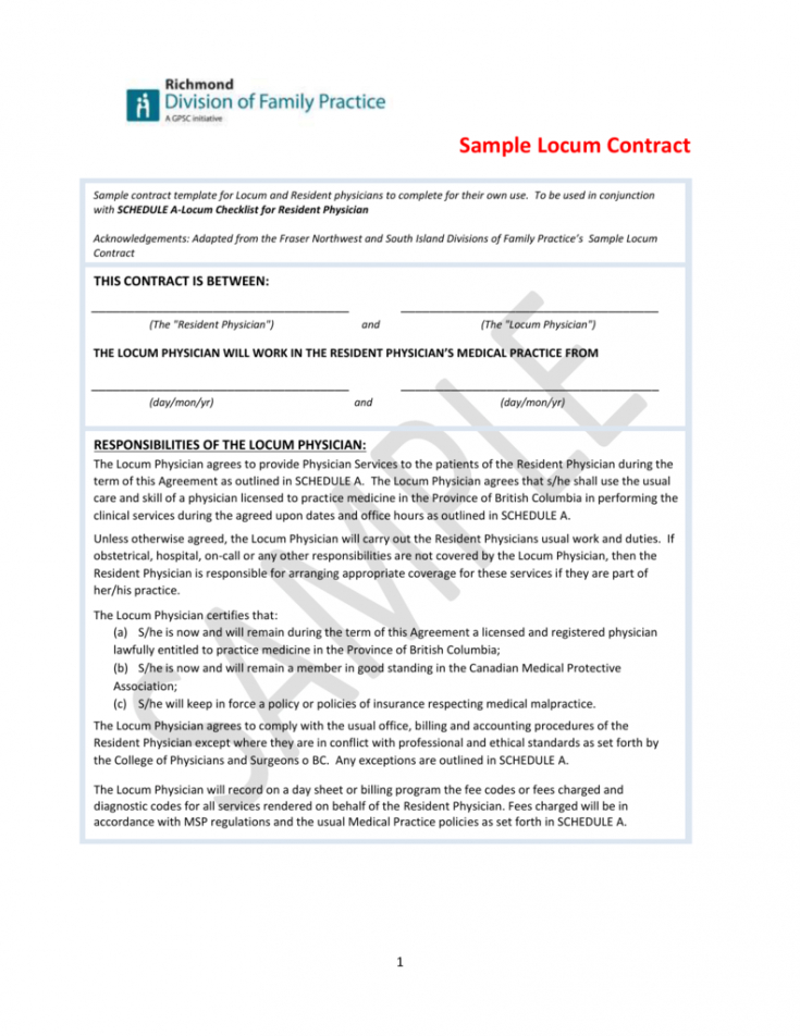 sample locum contract  divisions of family practice medical billing contract template pdf