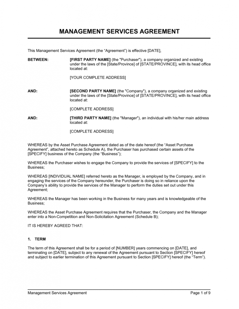 sample management services agreement template  by businessinabox™ it services contract template doc