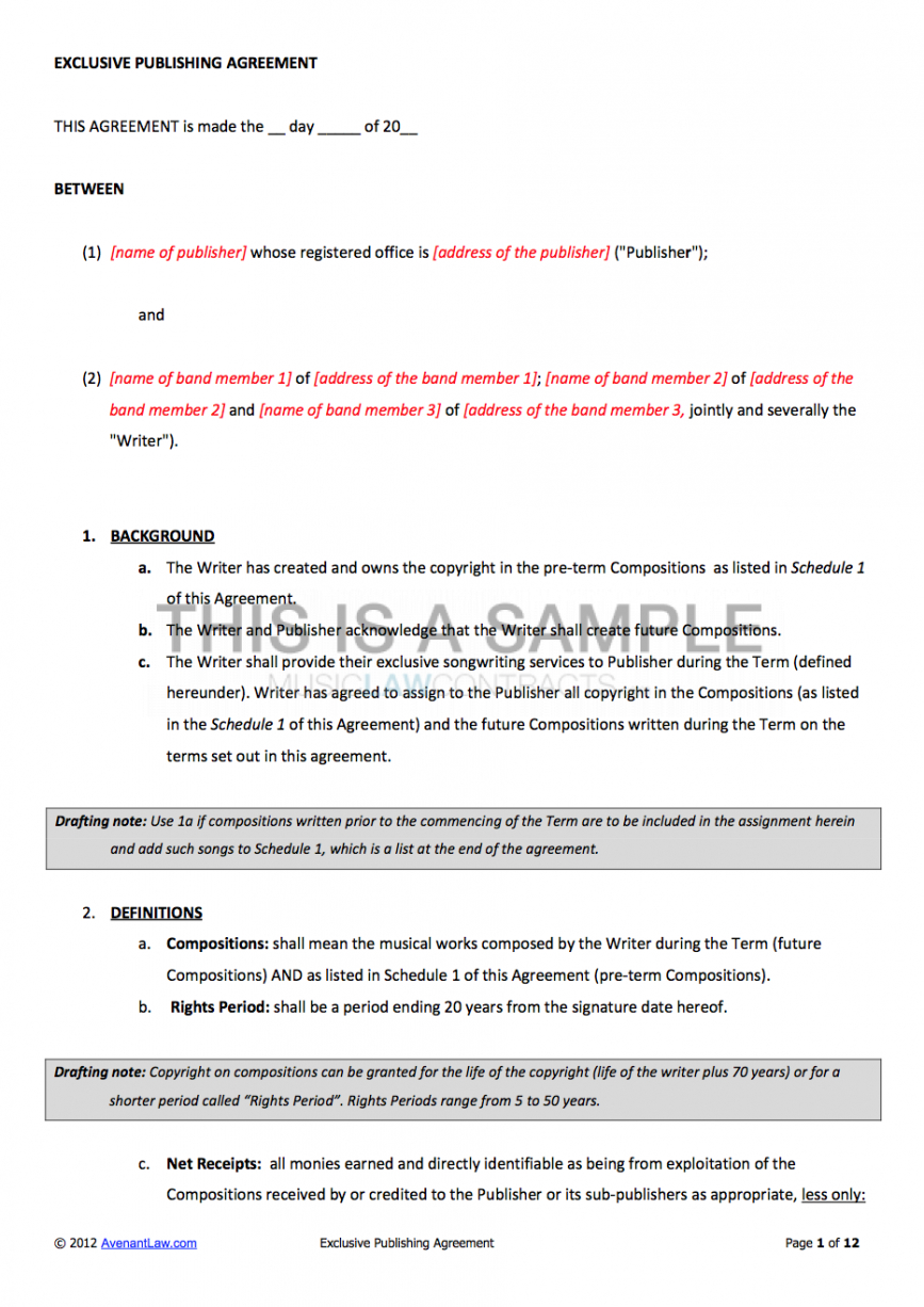 sample music publishing contract songwriting contract template doc
