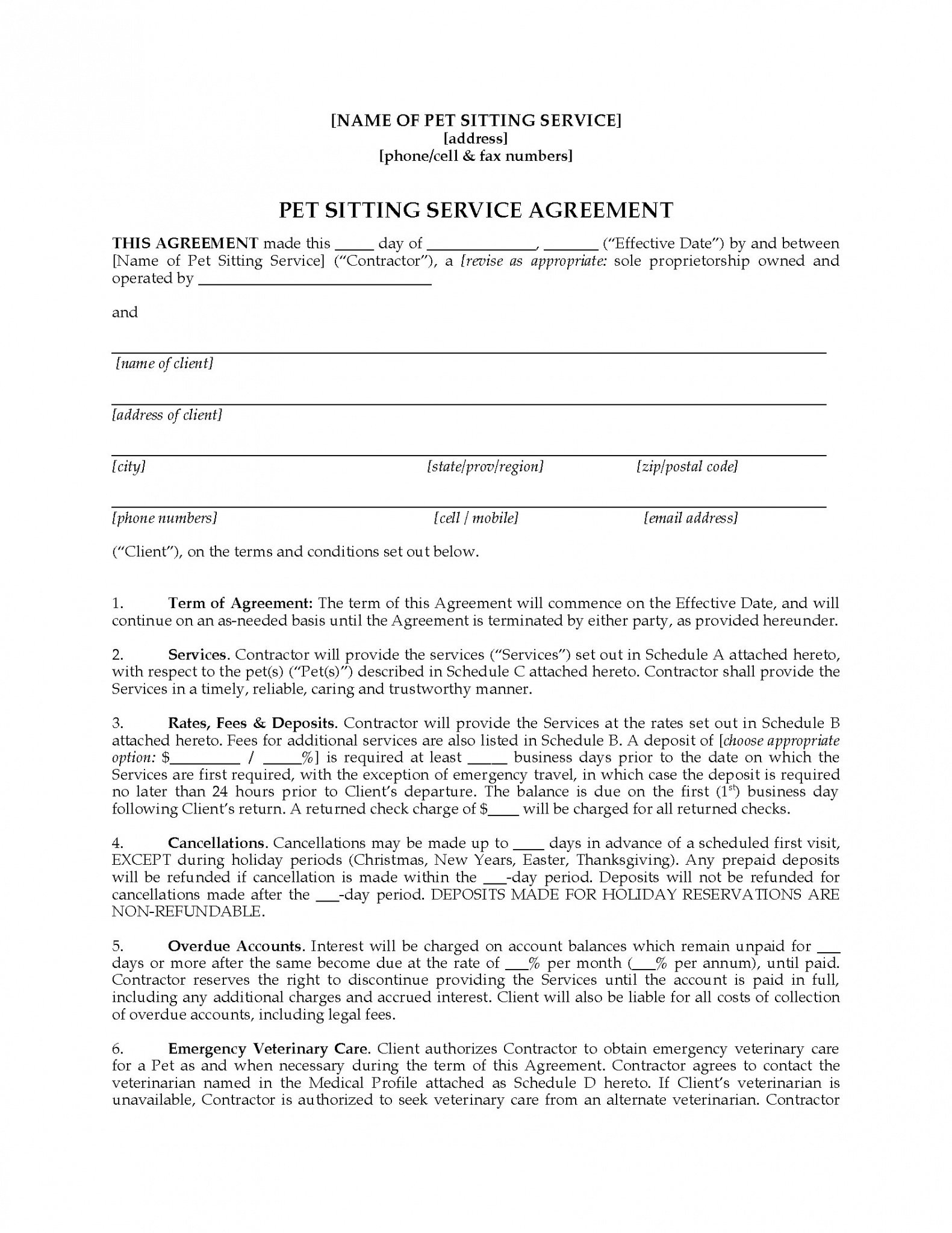 sample pet sitter contract forms package pet care contract template pdf