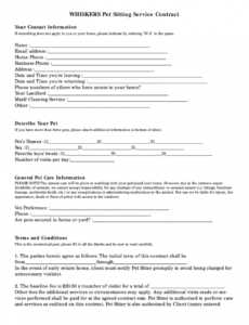sample pet sitter forms  fill out and sign printable pdf template  signnow pet care contract template sample