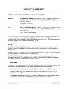 sample security agreement template  by businessinabox™ security service contract template pdf