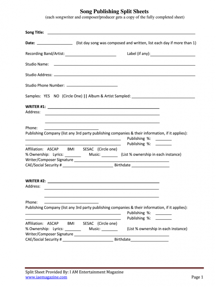 split sheet  fill out and sign printable pdf template  signnow songwriting contract template example
