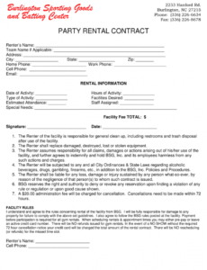 Best Party Rental Contract Template Excel Sample