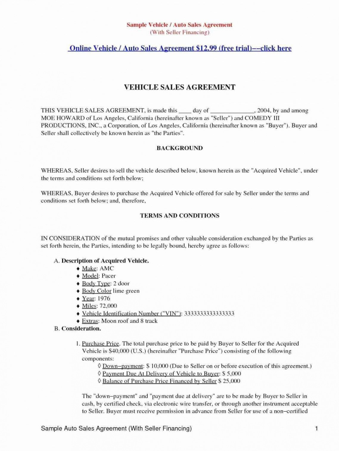 Best Seller Financing Contract Template Word
