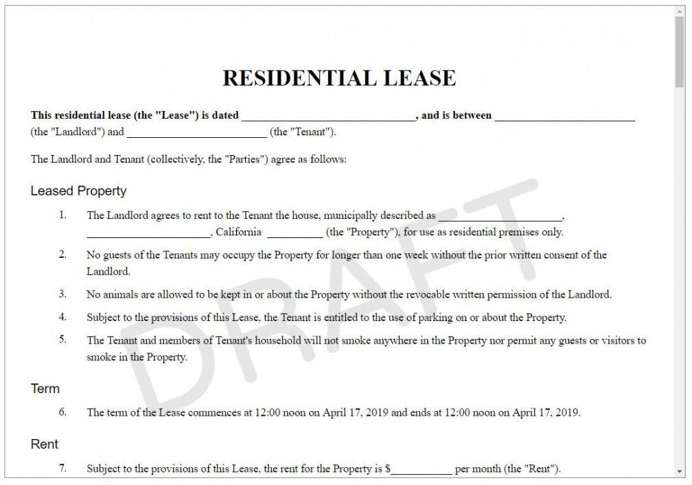 Best Standard Rental Contract Template Pdf Sample