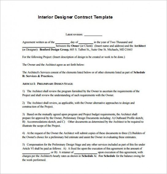Contract Template For Web Design Services Doc Sample