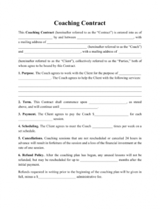 Costum Business Coaching Contract Template Excel Sample