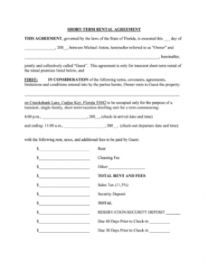 Costum Vacation Home Rental Contract Template Doc Example