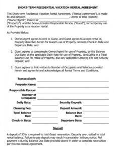 Costum Vacation Home Rental Contract Template  Sample