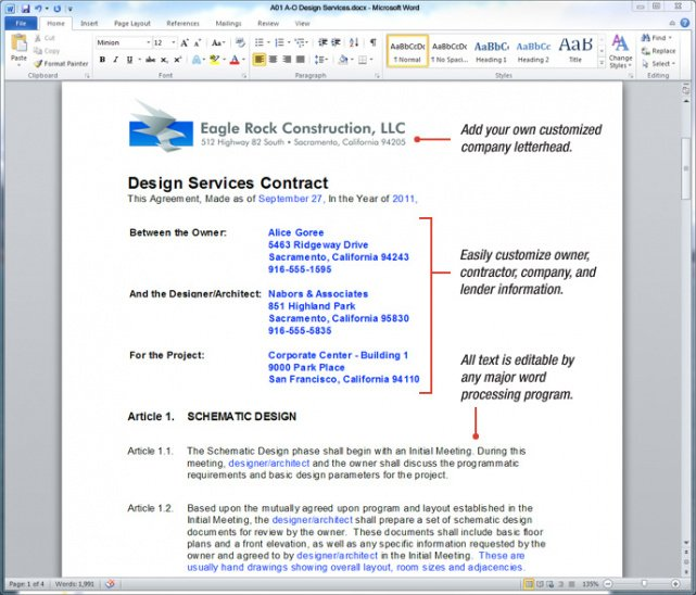 Editable Commercial Interior Design Contract Template Pdf