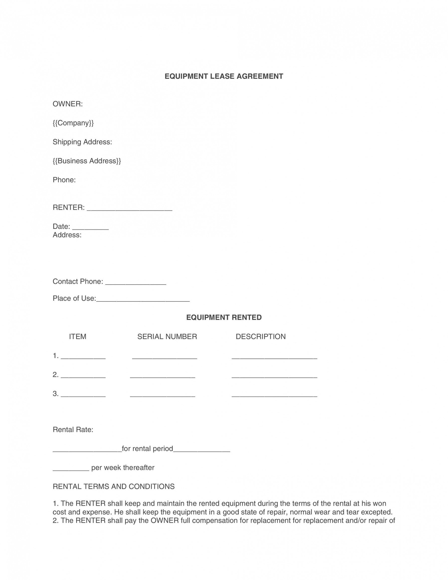 Editable Equipment Rental Contract Template Excel Example