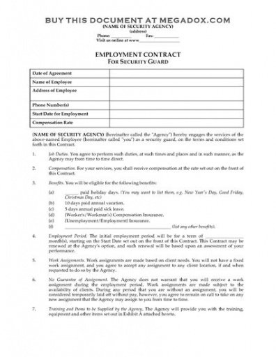 Editable Security Company Contract Template Excel Example