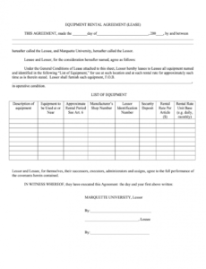 Equipment Rental Contract Template Pdf Sample