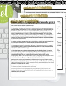 Free Brand Ambassador Contract Template Word