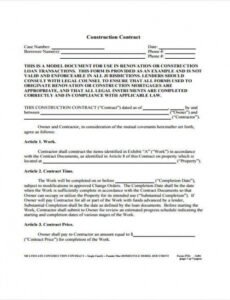 Free New Home Construction Contract Template Doc Sample
