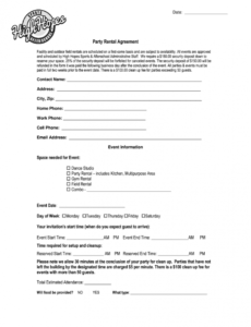 Free Party Rental Contract Template  Example