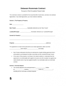 Free Room Rental Contract Template Pdf
