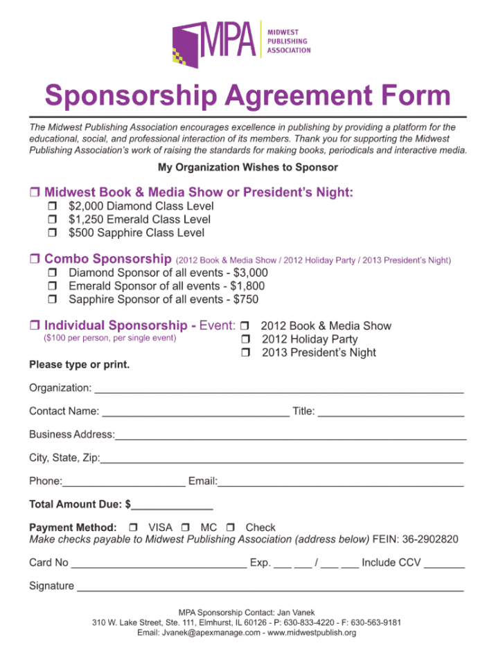 free sponsorship clause  fill online printable fillable blank event sponsorship contract template