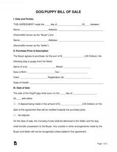 Printable Puppy Purchase Contract Template Doc Example