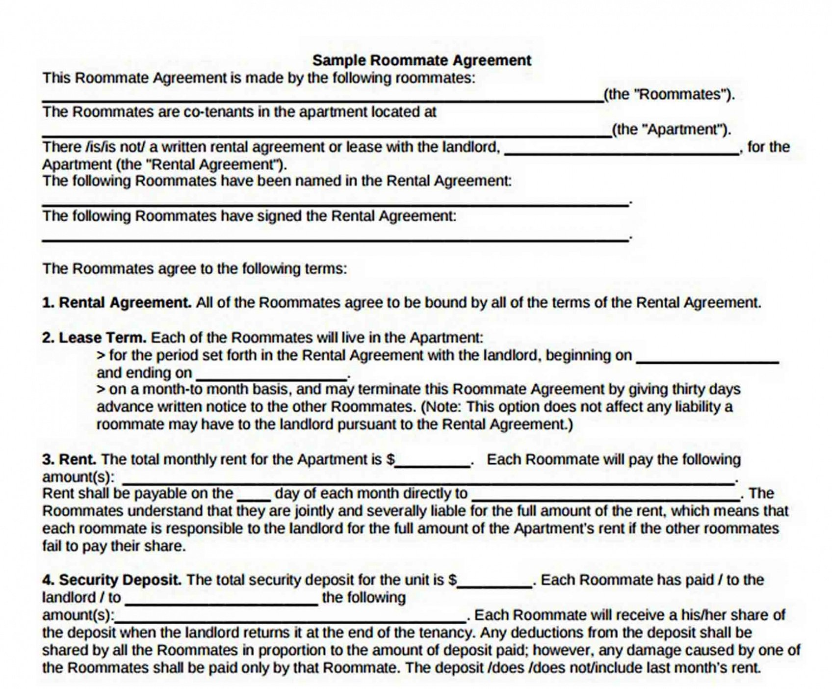 Printable Roommate Rental Contract Template  Sample