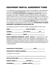 Professional Equipment Rental Contract Template Pdf
