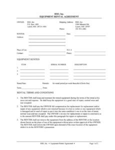 Professional Equipment Rental Contract Template Word Sample