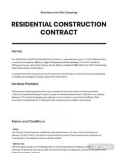 Professional New Home Construction Contract Template Pdf Example