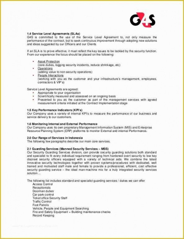 Professional Security Company Contract Template  Sample