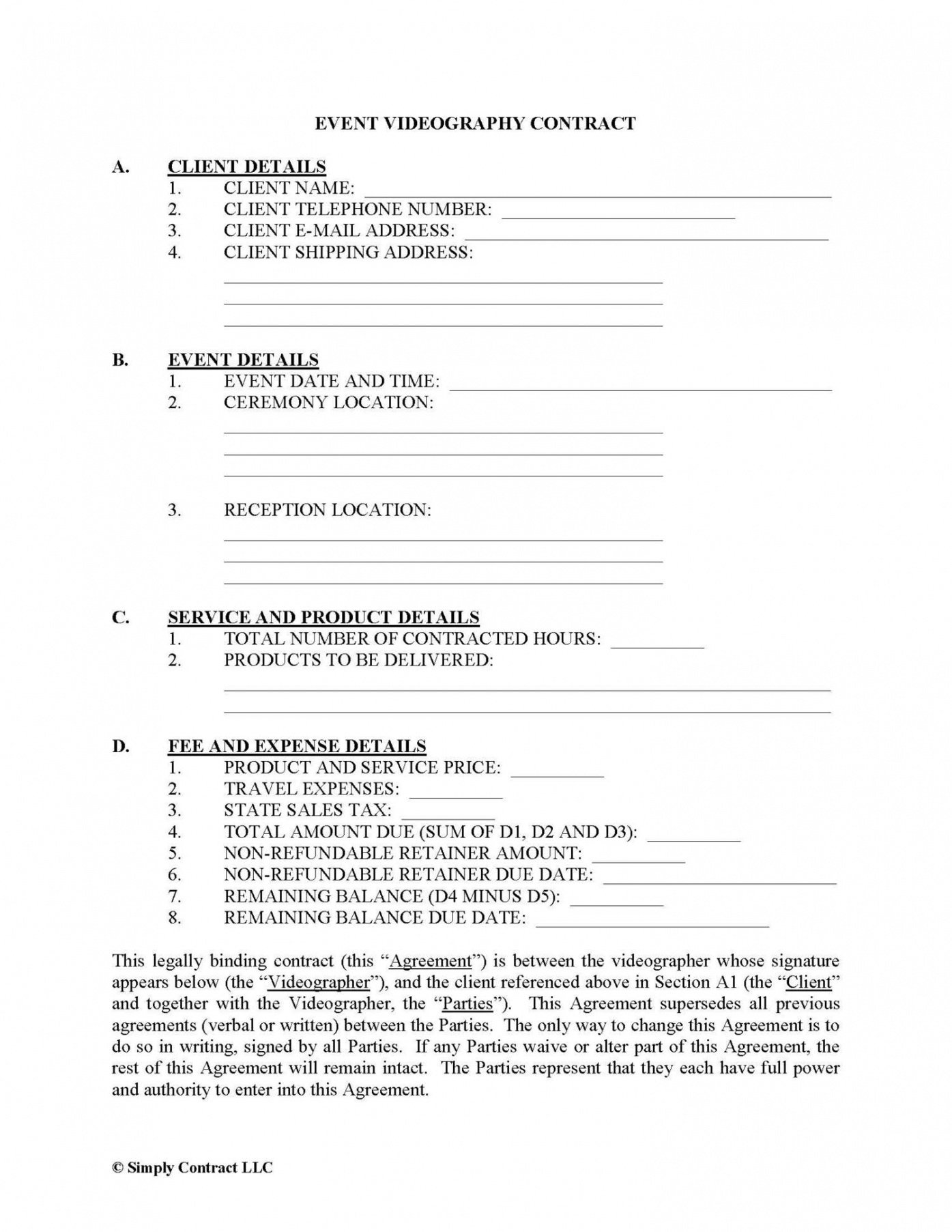 Professional Video Production Contract Template Pdf
