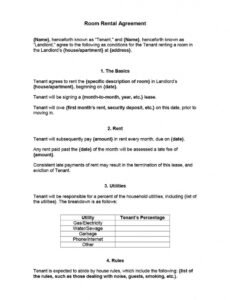 Room Rental Contract Template
