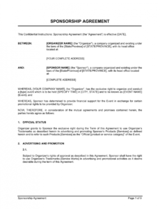 sponsorship agreement template  by businessinabox™ event sponsorship contract template example