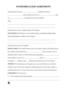 Standard Rental Contract Template Doc