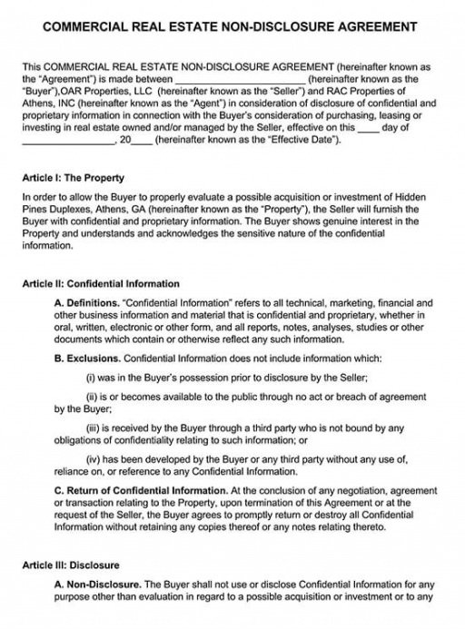 Best Commercial Real Estate Contract Template Pdf Example