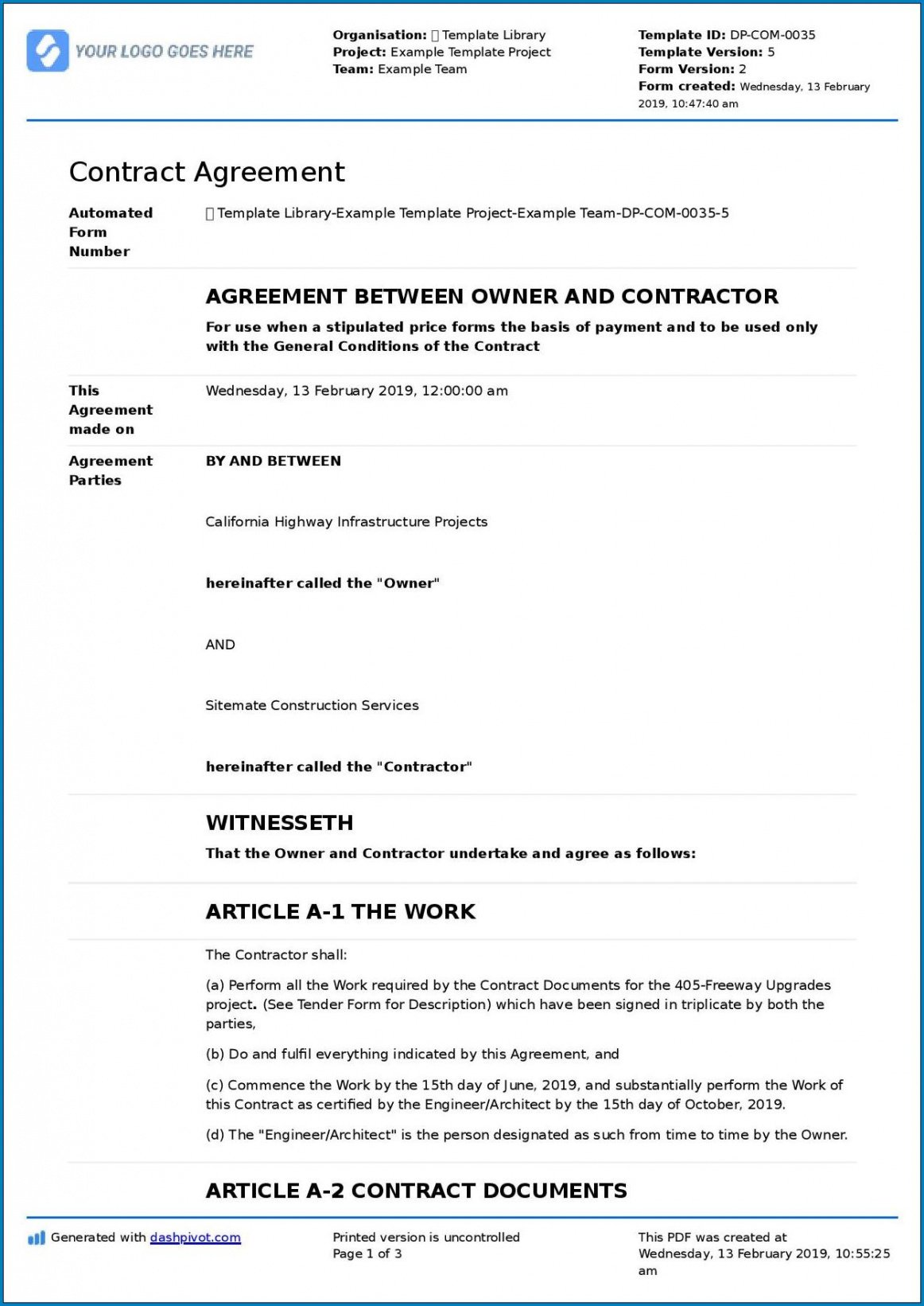 Best Cost Plus Construction Contract Template