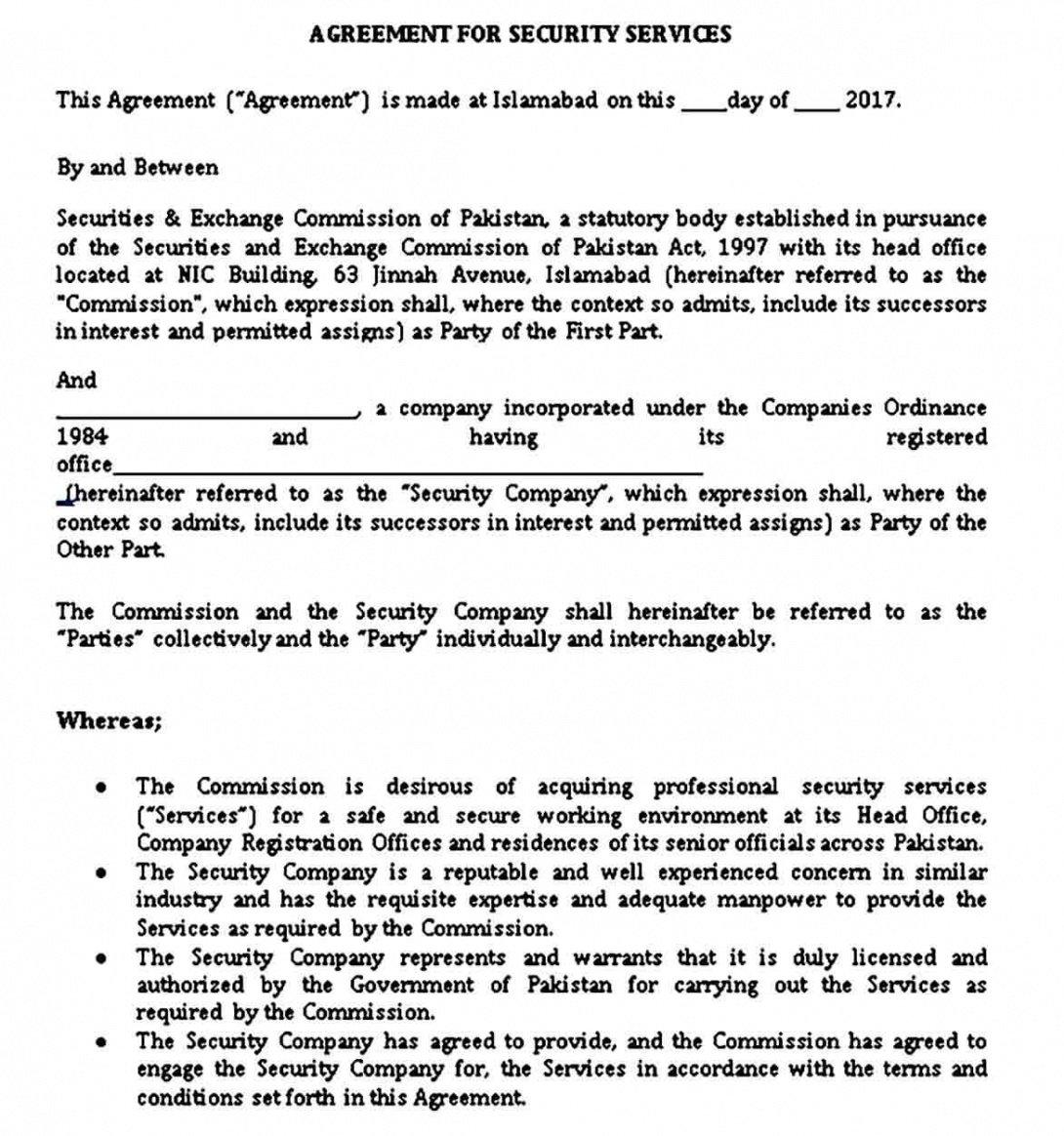 Best Security Service Guard Contract Template Pdf Sample